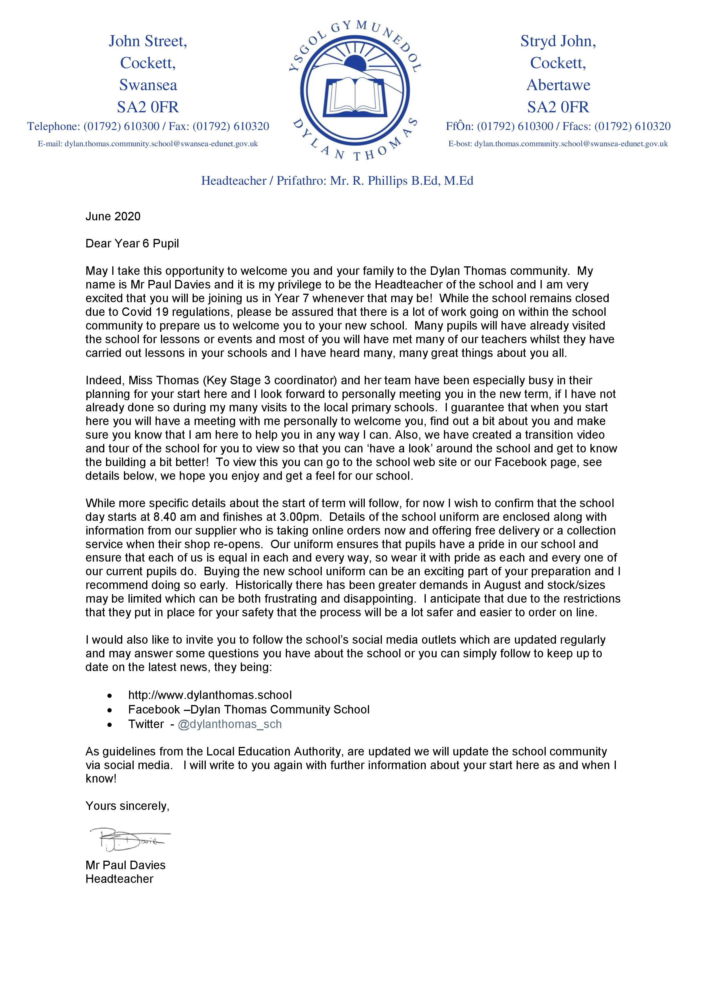 June 2020 Letter from Headteacher to pupils allocated Year 7 place Sept 2020-page-001.jpg